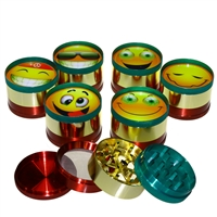 4 Piece Rasta 2'' Zinc Grinder With SMILEY Sticker