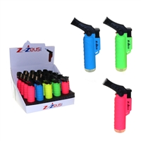 "ZZEUS 4"" SIDE TORCH LIGHTER WITH CAP -Rubber 20Ct"