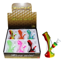 Waxmaid Silicone & Glass Waterpipe - Horn Mini (Display of 6)